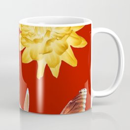 YELLOWISH BROWN DAHLIA FLOWER &  ORANGE BUTTERFLIES ALLURE Coffee Mug