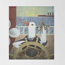 A-Z Animal, Albatross Quartermaster - Illustration Throw Blanket