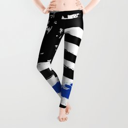 Thin blue line US flag. Flag with Police Blue Line - Distressed american flag.  Leggings