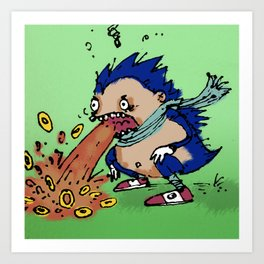"""Vomit The Hedgehog"" (from Farts 'N' Crafts #4) Art Print"