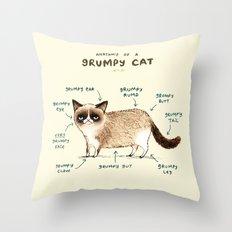 Anatomy of a Grumpy Kitty Throw Pillow