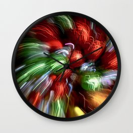 Abstract Red & Green Motion Blur Wall Clock
