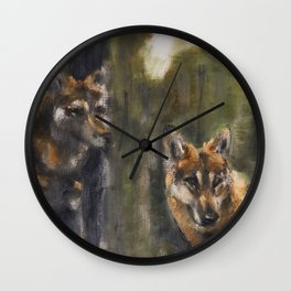 Totem Red Wolf Wall Clock