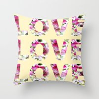 all you need is love Throw Pillows featuring ALL YOU NEED IS LOVE by Artisimo (Keith Bond)