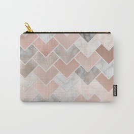 Rose Gold and Marble Geometric Tiles Carry-All Pouch
