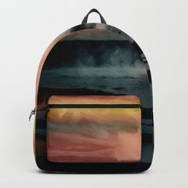 Old Faithful geyser, Yellowstone Park, Wyoming, October Red and Gold Sunset landscape painting Backpack