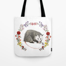 Opossum in Floral Wreath Tote Bag