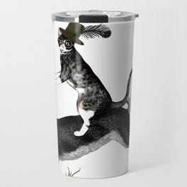 Cat And Rabbit Going For A Ride Travel Mug