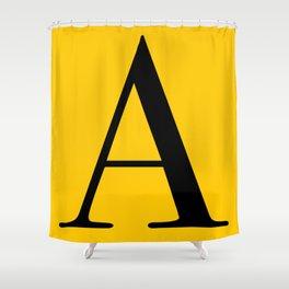 Serif A. Black on Yellow. Shower Curtain