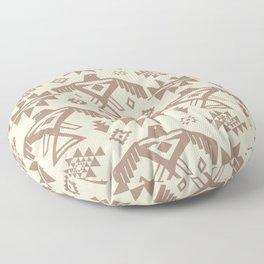 Southwestern Thunderbird Kilim in Ecru + Taupe Floor Pillow