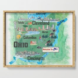 USA Ohio State Illustrated Travel Poster Map with Touristic Highlights Serving Tray