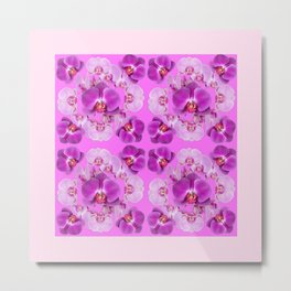Pink Color Abstracted Modern Purple Moth Orchids Metal Print