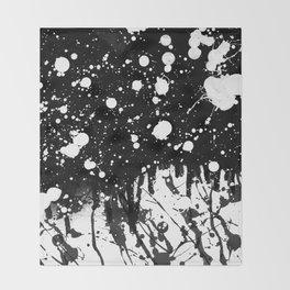 Black and White Splatter Paint  Throw Blanket