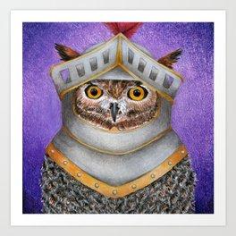 Knight Owl Art Print
