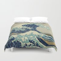 coffe Duvet Covers featuring The Great Wave off Kanagawa by Palazzo Art Gallery