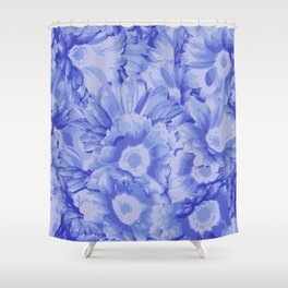 Sandy Blue-ish Flowers Shower Curtain