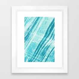 Abstract Marble - Teal Turquoise Framed Art Print