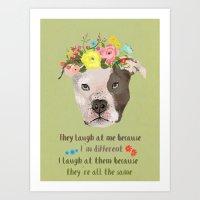 pitbull Art Prints featuring Pitbull by Elisandra Sevenstar