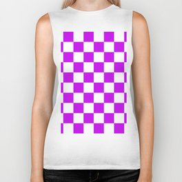 Cheerful Purple Checkerboard Pattern Biker Tank