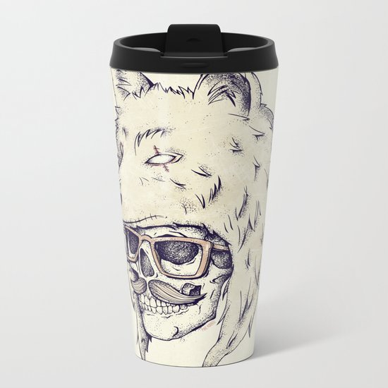 WOLF HAT Metal Travel Mug