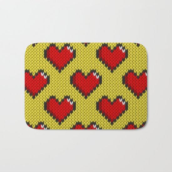 Knitted heart pattern - yellow Bath Mat