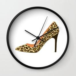 Leopard Print High Heel Shoe Wall Clock