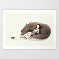 Snow White and Bigby Art Print