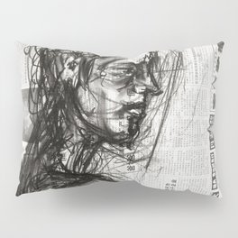Waiting - Charcoal on Newspaper Figure Drawing Pillow Sham
