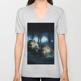 Gorgeous Cute Little Fairytale Rodent Critters Traveling Though Mystic Woods At Twilight UHD Unisex V-Neck