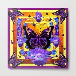 Surreal Black Butterflies Lilac Iris Flowers Art Metal Print