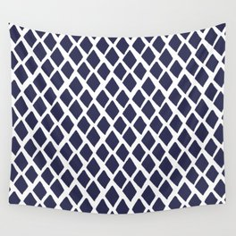 Rhombus Blue And White Wall Tapestry