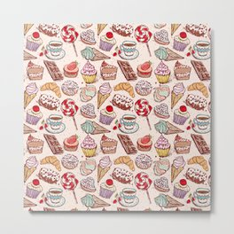 Hand drawn confectionery croissant Cupcake candy ice cream cake donut and coffee Metal Print