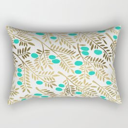 Gold & Turquoise Olive Branches Rectangular Pillow