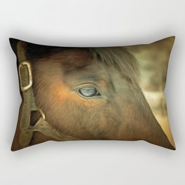Horse Eye Close Up. Golden Age Painting Style. Rectangular Pillow