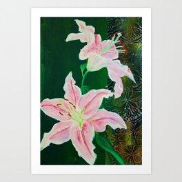 Pink Lilies on Green Art Print