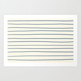 Dusk Sky Blue 27-23 Hand Drawn Horizontal Lines on Dover White 33-6 Art Print