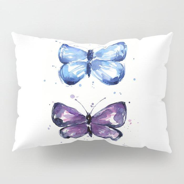 Butterflies Watercolor Blue and Purple Butterfly Pillow Sham