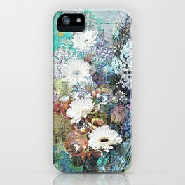 Shabby Chic impressionistic colorful floral iPhone Case