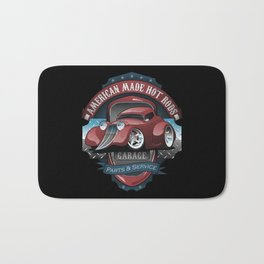 American Hot Rods Garage Vintage Car Sign Cartoon Bath Mat
