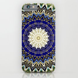 Bohemian Bright Blue and Gold Mandala iPhone Case