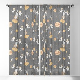 Astronauts in Space Sheer Curtain