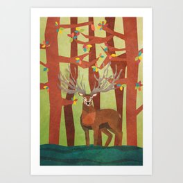 Majestic Stag in Forest Art Print