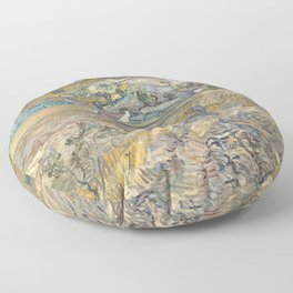 Enclosed Field with Peasant by Vincent van Gogh, 1889 Floor Pillow