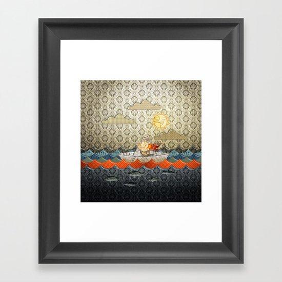 paper boat Framed Art Print