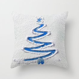 Simple Christmas Tree Hand Drawn in Snow on Blue Festive Minimal Art Throw Pillow