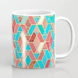 Melon and Aqua Geometric Tile Pattern Coffee Mug