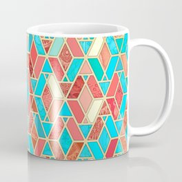 Melon and Aqua Geometric Tile Pattern Coffee Mug