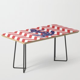 Blue Anchor on Red and White Chevron Pattern Coffee Table