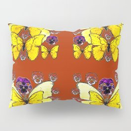 RUST COLORED YELLOW  BUTTERFLY & PANSY FLORAL Pillow Sham