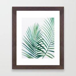 Emerald Palm Fronds Watercolor Framed Art Print
